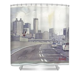 Atlanta Skyline Grey Southward Shower Curtain by Scott Serafy