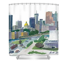 Atlanta Skyline With State Capitol Shower Curtain by Scott Serafy