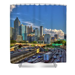 Shower Curtain featuring the photograph Atlanta The Capital Of The South Cityscapes Sunset Reflections Art by Reid Callaway