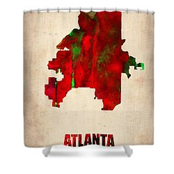 Atlanta Watercolor Map Shower Curtain by Naxart Studio