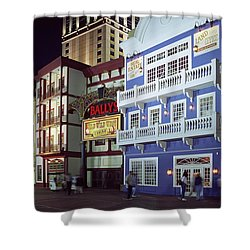 Atlantic City Boardwalk At Night Shower Curtain by Sally Weigand