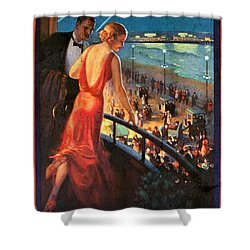 Atlantinc City - America's Great All Year Resort - Vintage Poster Vintagelized Shower Curtain