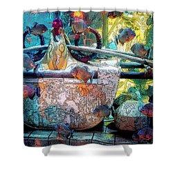Atlantis Aquarium In Watercolor Shower Curtain by DigiArt Diaries by Vicky B Fuller