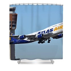 Atlas Air Boeing 747-446 N465mc Phoenix Sky Harbor January 12 2015 Shower Curtain by Brian Lockett