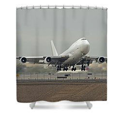 Atlas Air Boeing 747-45e-sf N473mc Phoenix Sky Harbor December 24 2015 Shower Curtain by Brian Lockett