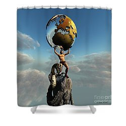 Atlas Greek God Shower Curtain by Corey Ford