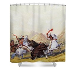 Attacking The Grizzly Bear 1844 Shower Curtain