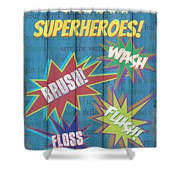 Attention Superheroes Shower Curtain