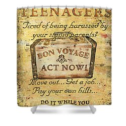 Attention Teenagers Shower Curtain by Debbie DeWitt