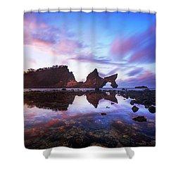Atuh Beach Dawn Break Scene Shower Curtain