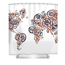 Auburn University Colors Swirl Map Of The World Atlas Shower Curtain
