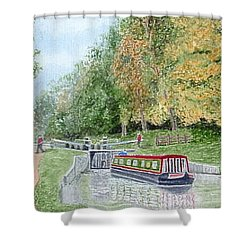 Audlem Lock, Shropshire Union Canal Shower Curtain by Peter Farrow
