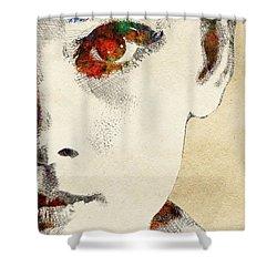 Audrey Half Face Portrait Shower Curtain