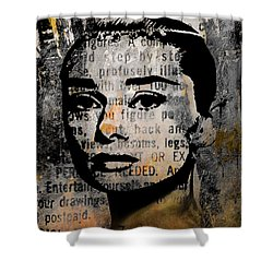 Shower Curtain featuring the mixed media Audrey Hepburn #2 by Kim Gauge