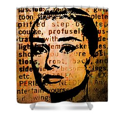 Shower Curtain featuring the mixed media Audrey Hepburn #4 by Kim Gauge