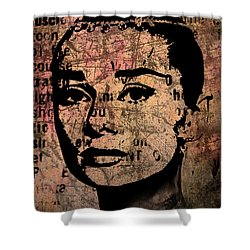 Shower Curtain featuring the mixed media Audrey Hepburn #7 by Kim Gauge
