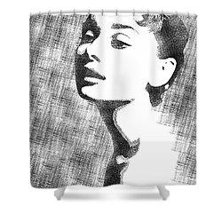 Audrey Hepburn Bw Portrait Shower Curtain by Mihaela Pater