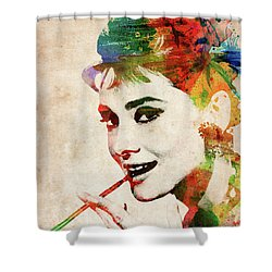 Audrey Hepburn Colorful Portrait Shower Curtain