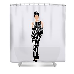 Audrey Hepburn Typography Poster Shower Curtain