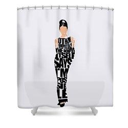 Audrey Hepburn Typography Poster Shower Curtain