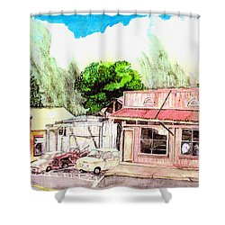 Shower Curtain featuring the painting Auggies Pool Hall by Eric Samuelson