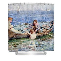 August Blue Shower Curtain by Henry Scott Tuke