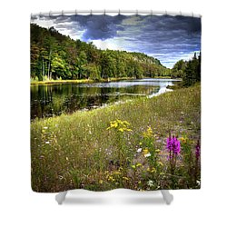 Shower Curtain featuring the photograph August Flowers On The Pond by David Patterson