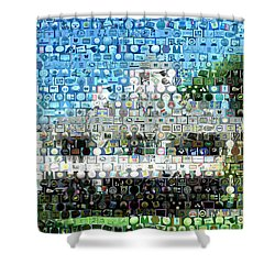 Augusta National Clubhouse Mosaic Shower Curtain by Paul Van Scott