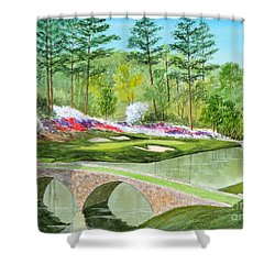 Shower Curtain featuring the painting Augusta National Golf Course 12th Hole by Bill Holkham