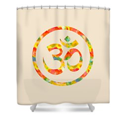 Shower Curtain featuring the painting Aum Symbol Abstract Digital Painting by Georgeta Blanaru