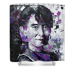 Shower Curtain featuring the painting Aung San Suu Kyi by Richard Day