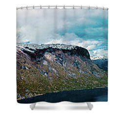 Aurlandsfjorden Panorama Revisited Shower Curtain