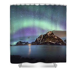 Aurora Above Reinefjord Shower Curtain