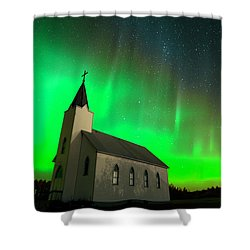 Aurora And Country Church Shower Curtain by Dan Jurak