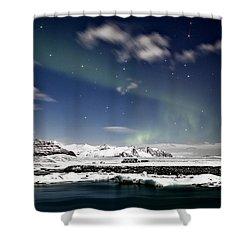 Aurora At Glacier Lagoon Shower Curtain by Roddy Atkinson
