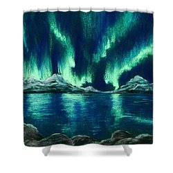 Shower Curtain featuring the pastel Aurora Borealis by Anastasiya Malakhova