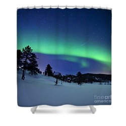 Aurora Borealis And A Shooting Star Shower Curtain by Arild Heitmann