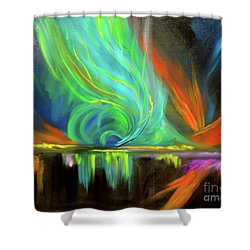Aurora Borealis Shower Curtain by Jenny Lee