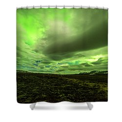 Aurora Borealis Over A Frozen Lake Shower Curtain