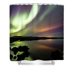 Aurora Borealis Over Thinvellir Shower Curtain