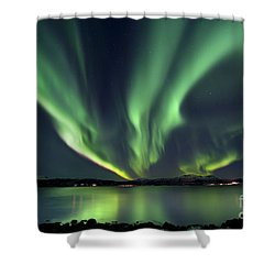Aurora Borealis Over Tjeldsundet Shower Curtain