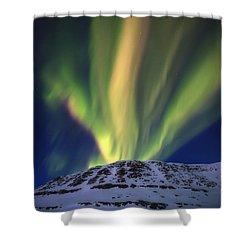 Aurora Borealis Over Toviktinden Shower Curtain by Arild Heitmann