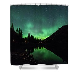 Aurora On Moraine Lake Shower Curtain by Alex Lapidus