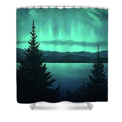 Aurora Over Lake Pend Oreille Shower Curtain