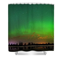 Aurora Over Pond Panorama Shower Curtain by Dan Jurak