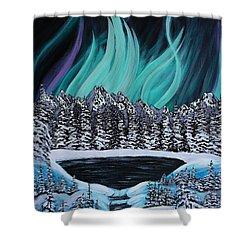 Aurora's Fiery Display Shower Curtain by Barbara Griffin
