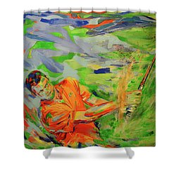 Aus Dem Bunker Spielen   Bunker Shot Shower Curtain by Koro Arandia