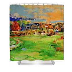 Aussicht Auf Das Clubhaus Vom Fairway   View Of The Clubhouse From The Fairway Shower Curtain by Koro Arandia