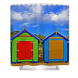 Aussie Beach Boxes Shower Curtain by Dennis Cox WorldViews