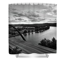 Shower Curtain featuring the photograph Austin 360 Pennybacker Bridge Sunset by Todd Aaron